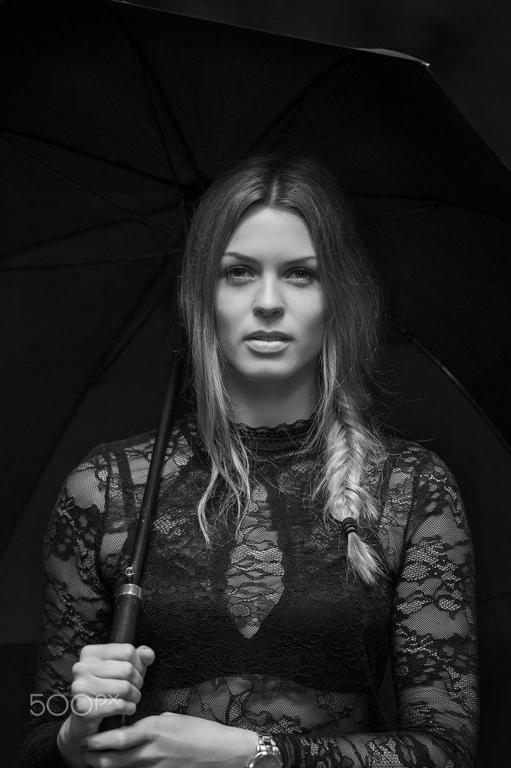 Maja - Beatiful Maja #bw #blackandwhite #monochrome #portrait #beautiful #young #woman #umbrella #naturallight #braid #hairstyle #danish #scandinavian #lace #laces #eyes #model #fashion #beauty #photography
