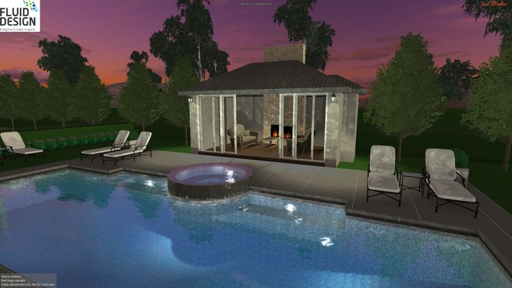 Views across this beautiful pool area into the lounge pavilion w/ stacking glass doors & wood fire place
