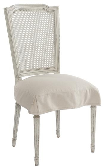 French Country Antique White Shabby Chic Slip Cover Dining Chair