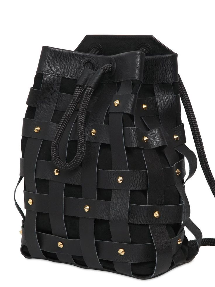 Salar JULES WOVEN LEATHER BACKPACK WITH STUDS