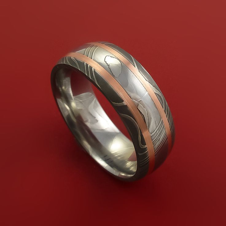 Damascus Steel Ring with Copper Inlays Custom Made Band – Stonebrook Jewelry