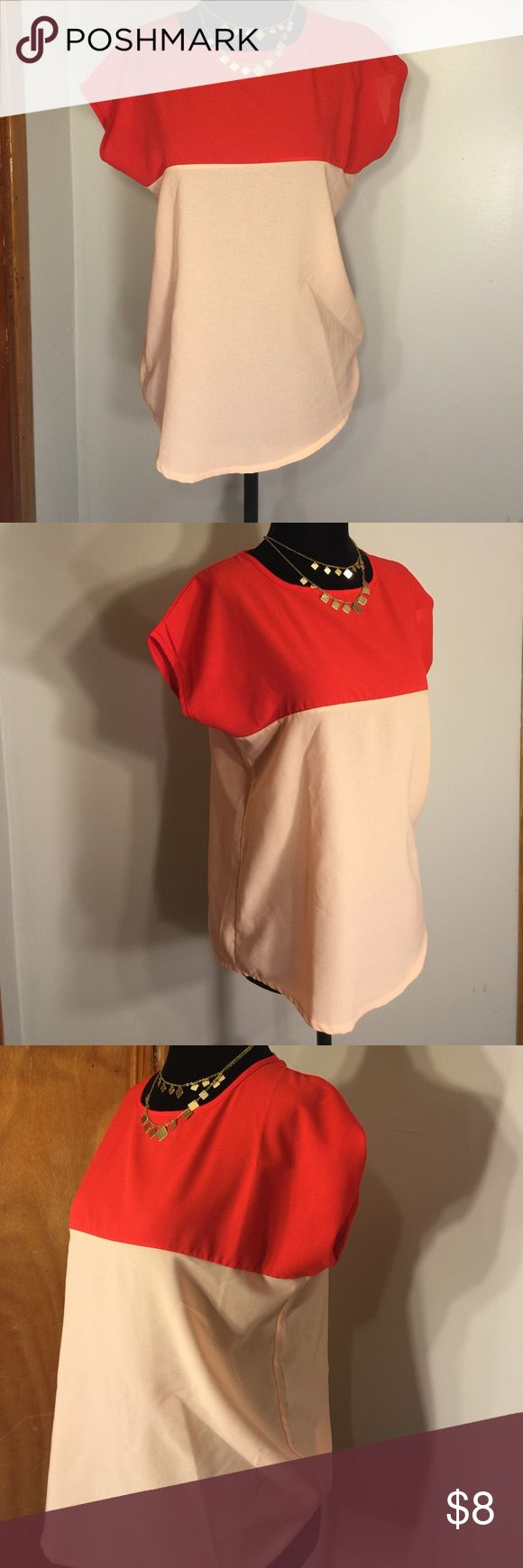 Chiffon Coral Blouse Beautiful lightweight blouse perfect for everyday wear! No tags & I don't remember the brand Tops Blouses
