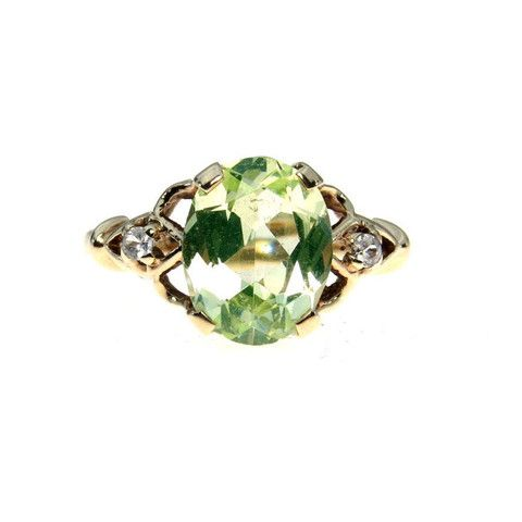 Estate Green Topaz 10k Gold Retro Ring 2.9 Ct - Most Beautiful Color! #vbantiquejewelry