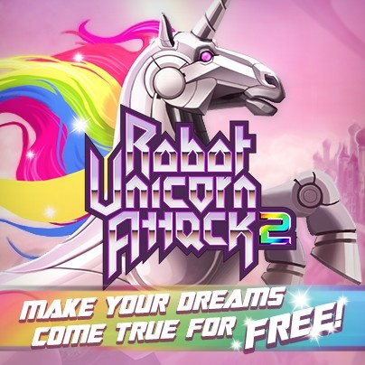 http://pikpok.com/games/rua2/ - Robot Unicorn Attack 2 is out, and ever so sparkly!