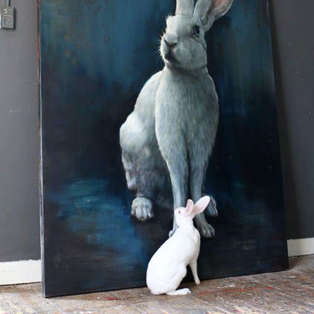 Hare painting and model , rabbit, konijn schilderij by www.nanoukweijnen.com