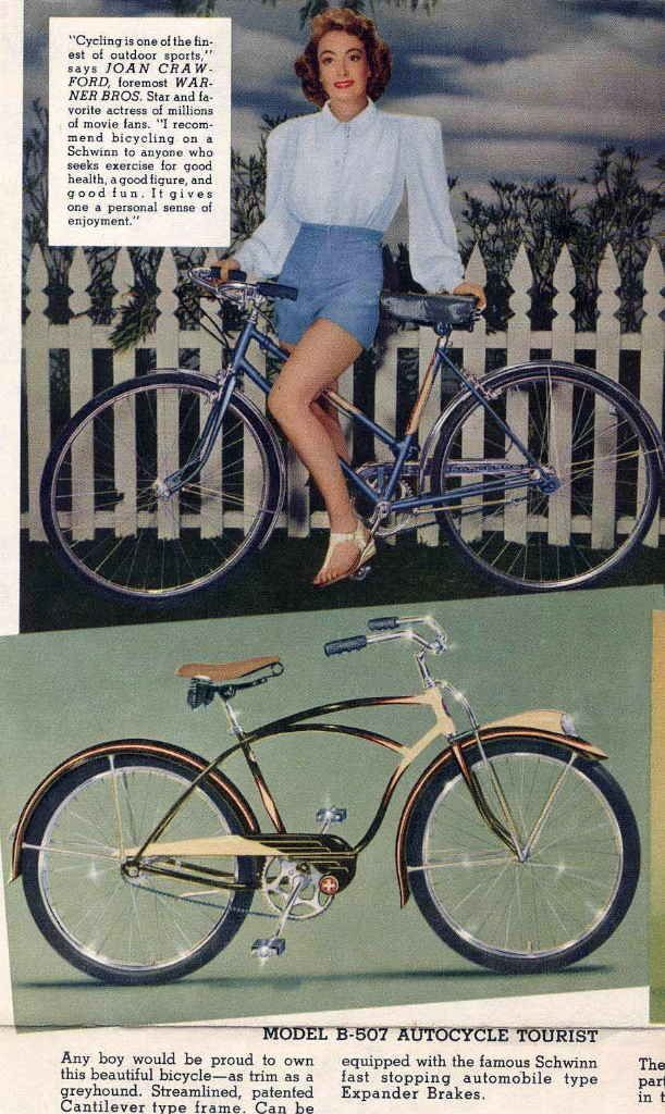 Joan Crawford advertising for Schwinn bikes. Heather says: This cracks me up! Love the long sleeves with shoulder pads and shorts combo!