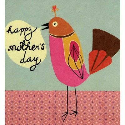 Sweet Mother's Day card illustrated with a little birdie