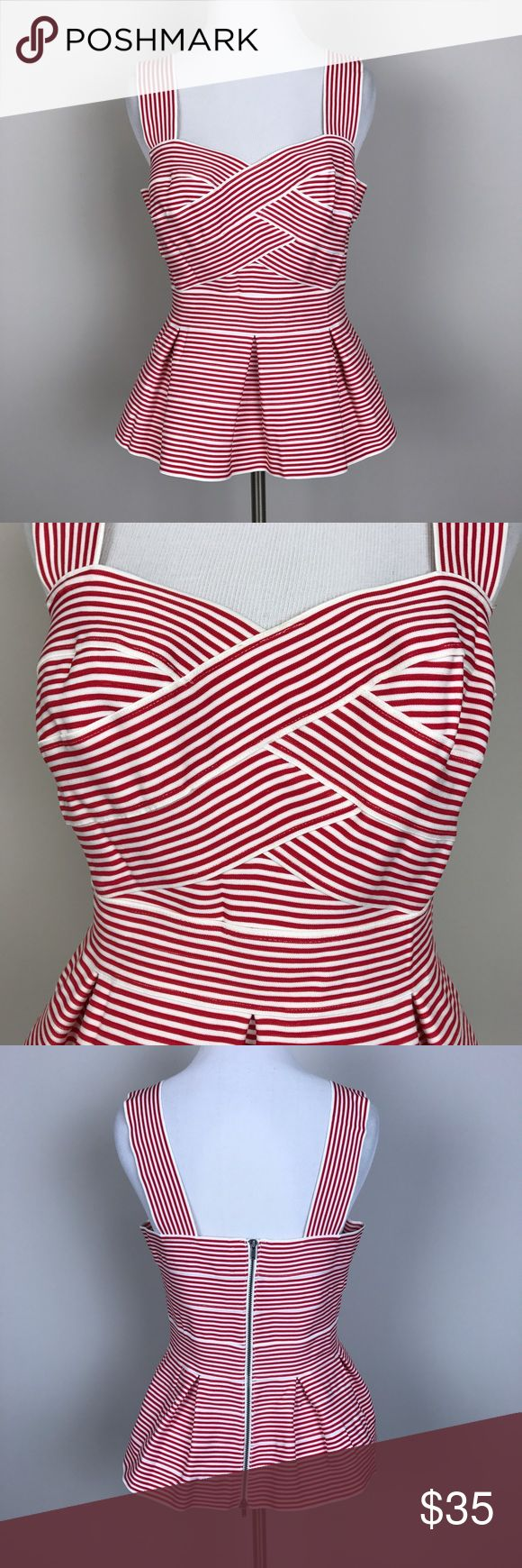 """[Anthropologie] Cabana Striped Peplum Tank Retro Cabana Peplum Tank by HD in Paris from Anthropologie. Thick stretchy knit. Wide straps. Sweetheart neckline. Exposed back zip closure. Red and white stripes. Retro Pinup inspired.   🔹Pit to Pit: 17"""" 🔹Waist: 14"""" Flat Across  🔹Length: 22"""" 🔹Condition: Excellent pre-owned condition.   *J78 Anthropologie Tops Tank Tops"""