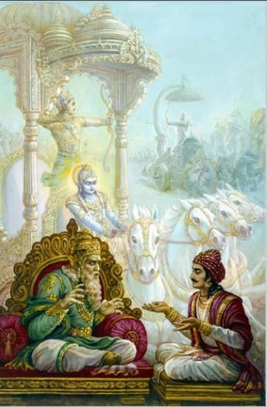 Sanjay describing the battle of Kuruksetre to Dhrtarastra