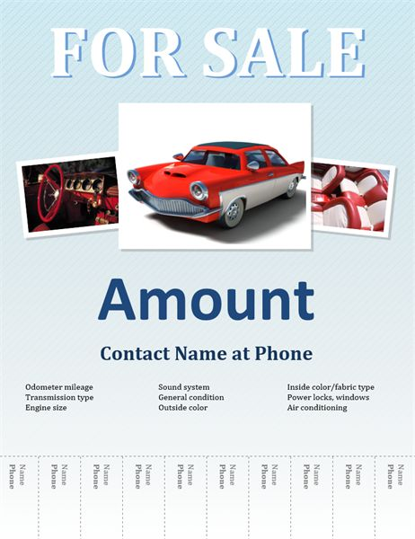 Sell your car using this flyer template. The template has diagonal light blue stripes, placeholders for three pictures, and tear-off strips for phone numbers.