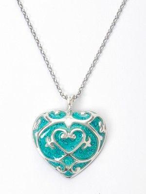Turquoise Adina Plastelina Silver Heart Necklace