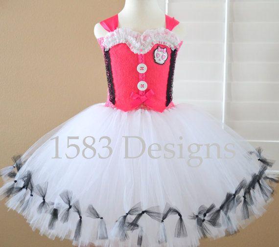 Draculaura Monster High Tutu Dress Costume by 1583Designs on Etsy white pink skull bow themed party custom kids girls