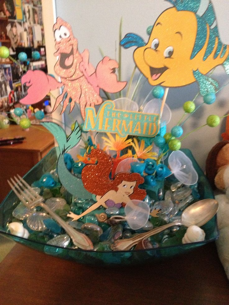 Diy the little mermaid centerpiece my huge disney for Ariel birthday decoration ideas