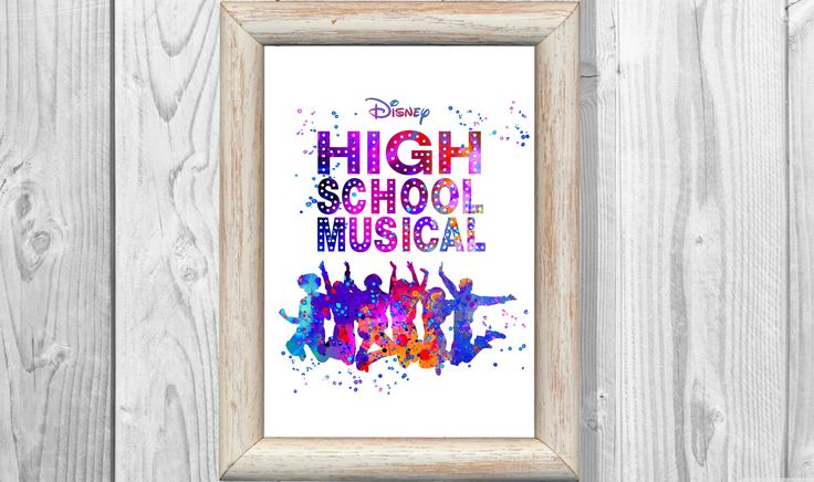 High School Musical Poster Watercolor Musical Print Kids Decor Giclee High School Musical Wall Decor Home Decor Instant Digital Download by MarinaIdea on Etsy https://www.etsy.com/listing/526961675/high-school-musical-poster-watercolor