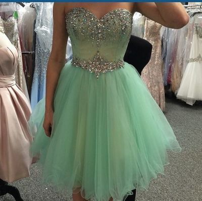 2016 Emerald Homecoming Dresses, Beaded Prom Dresses, Tulle Evening Dresses, Sexy Homecoming dresses, Custom Classy prom dresses