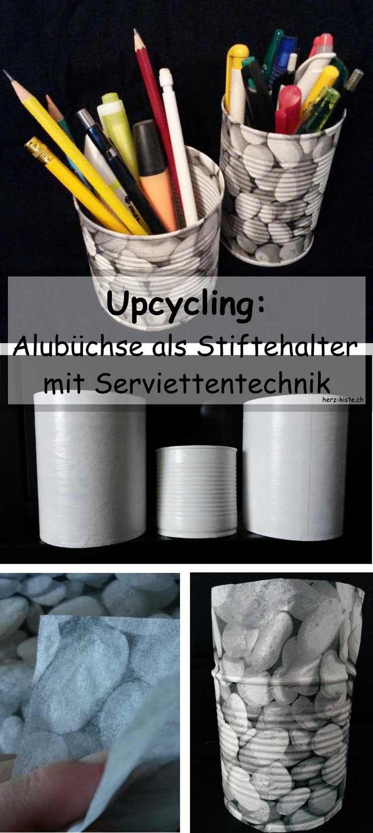 Upcycling: Mit Serviettentechnik eine Büchse in einen Stiftehalter verwandeln