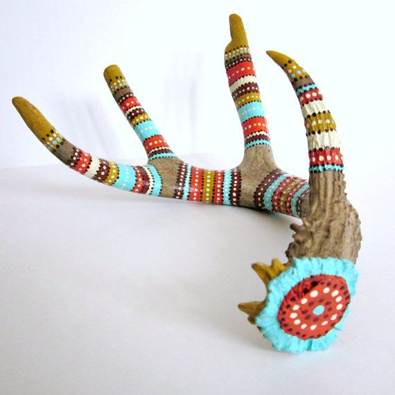 ANTLER ART - Hand Painted Deer Antler - Antler Sculpture - RUSTIC Tribal Home Cabin Decor - Woodland Primitive Nature Art