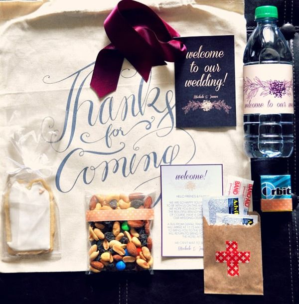 Learn all about creating a great wedding welcome bag along with a free water bottle label printable courtesy of Pink Spruce Photography!