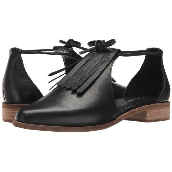 Kelsi Dagger Brooklyn Alani (Black) Women's Shoes (£110) ❤ liked on Polyvore featuring shoes, black laced shoes, black low heel shoes, almond toe shoes, wide shoes and wide fit shoes