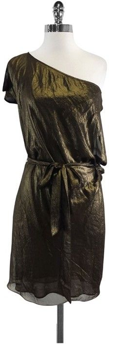 BCBGMAXAZRIA Metallic Gold & Black One Shoulder Dress