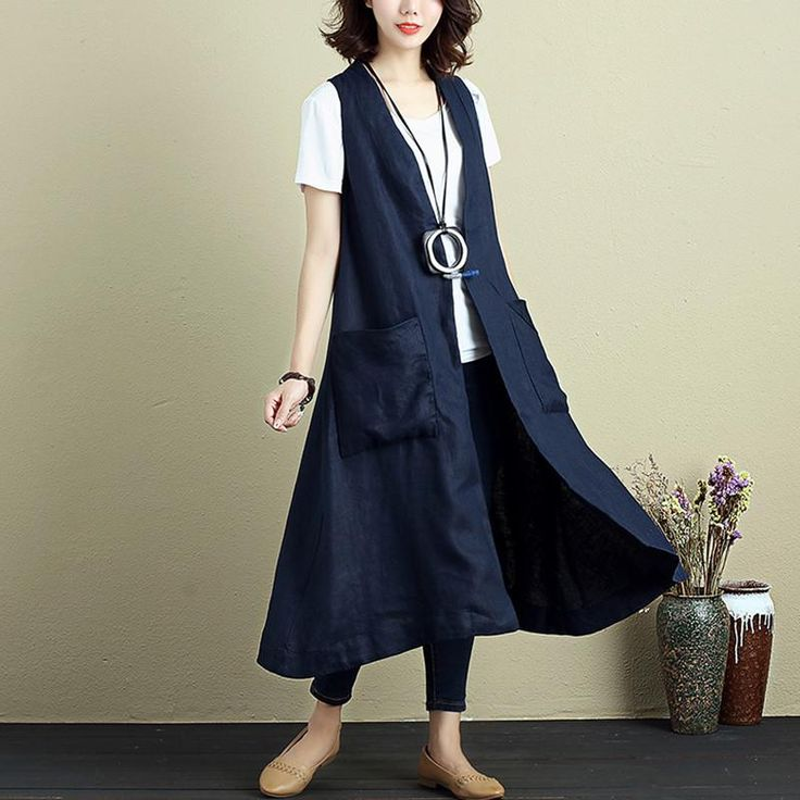 Fashionable Women Cotton Linen Sleeveless Cardigan Navy Blue Coat