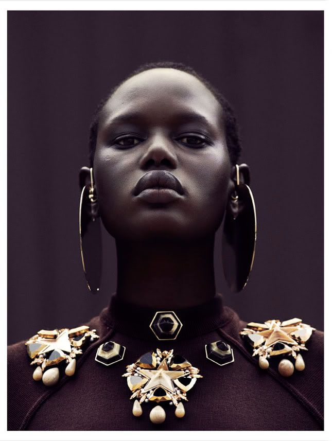 Model Ajak Deng Photographed by Julia Noni fashion editorial chunky jewelry