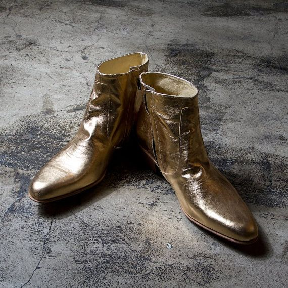 golden beatle boots   FREE SHIPPING by goodbyefolk on Etsy, $260.00