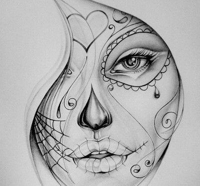 Arte Dia, Dia De Los Muertos, Tatuajes Katrina, 50 Bocetos, Catrinas Dibujos, Mejores Tatuajes, Minuciosamente, Costura, Calaveras Mexicanas