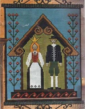 Rare Danish Folk Art Wedding Counted Needlepoint Kit Klostersom ...