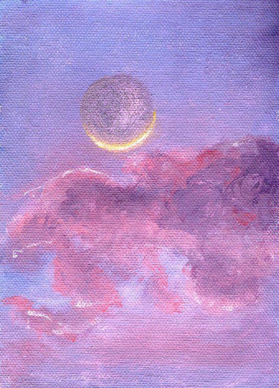 Pink Moon Original Artwork Acrylic Painting Moon Art Print Moon Artwork Moon Wall Art