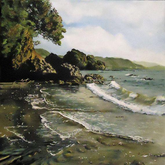 Sunlight on Te Kaha Surf by KirstenMcIntoshArt on Etsy