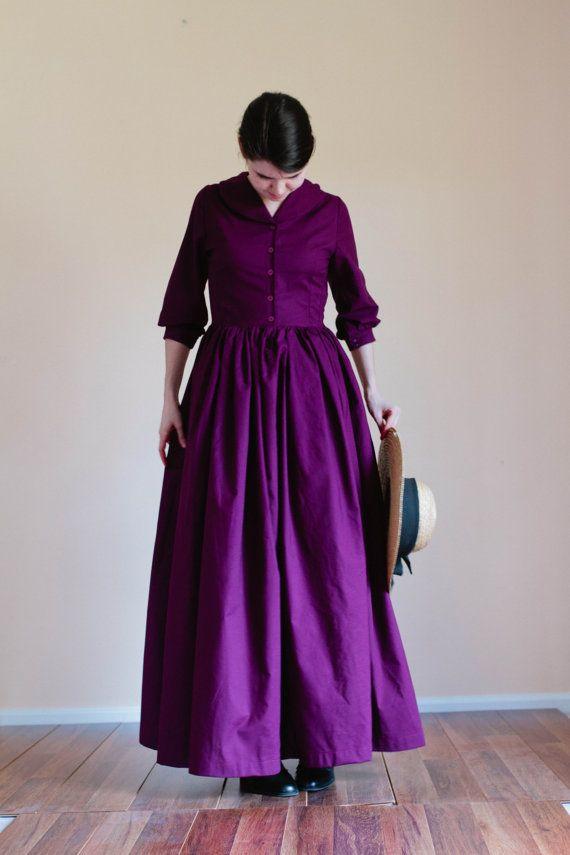Shawl Collar Plain Dress button modest dress Prairie Dress
