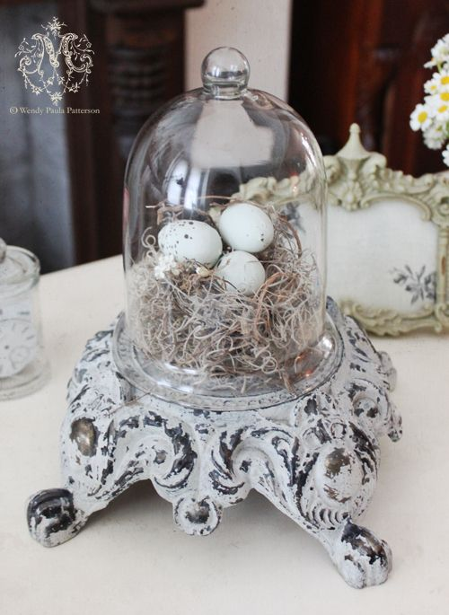 Spring nest bell jar display - I'm a convert to these bell jar displays - might even start a board devoted to them!