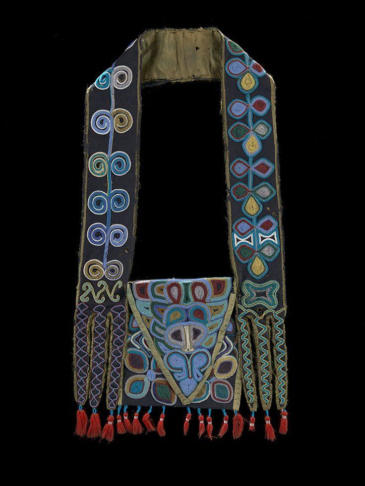 Muscogee (Creek) bandolier bag, ca. 1814 Alabama Wool fabric and tassels, silk fabric, dye, glass beads, cotton thread Photo by Earnest Amoroso #NMAI 24/4150 Exhibition open Sept 21!