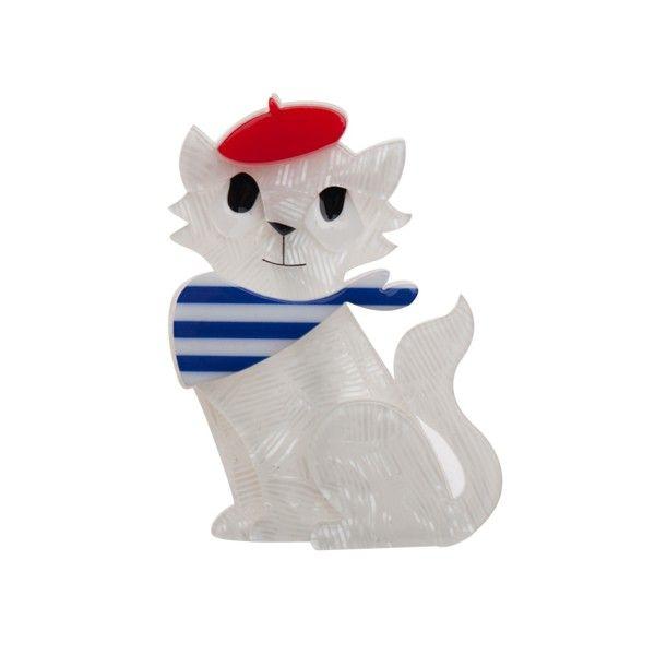 "Erstwilder Limited Edition Farrah the French Kitty resin brooch. ""Chagrin partagé chagrin diminué"""