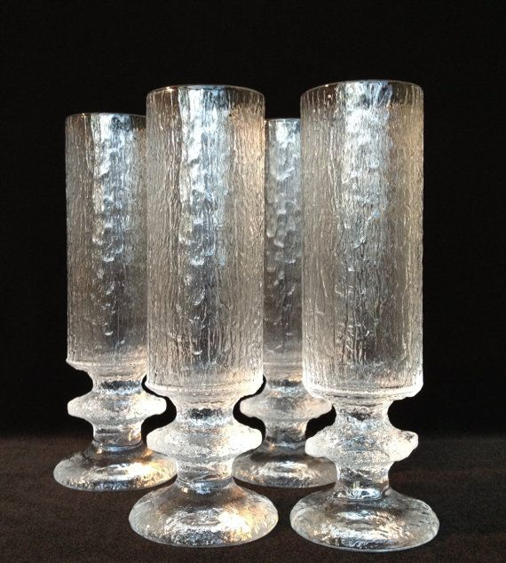 4 tall champagne Senaattori glass flutes Timo Sarpaneva Iittala Finland glass vintage collectible glass mcm glass flutes holiday glassware