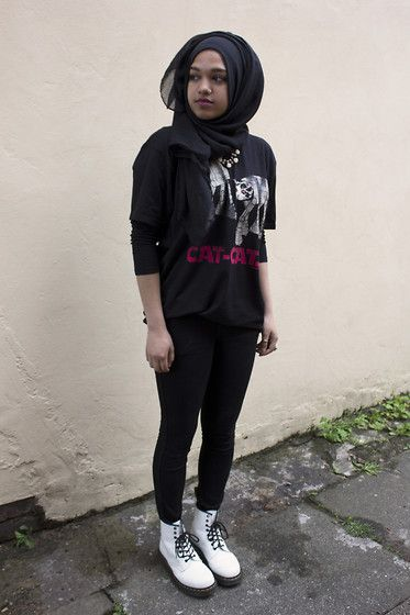 Al Madina Hijabs Black Scarf, H&M Rose Necklace, David & Goliath Cat Cats Tshirt, H&M Black Skinny Jeans, Dr. Martens White Boots