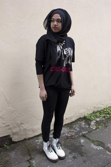 Saima Chowdhury - Al Madina Hijabs Black Scarf, H&M Rose Necklace, David & Goliath Cat Cats Tshirt, H&M Black Skinny Jeans, Dr. Martens White Boots - CAT-CATS