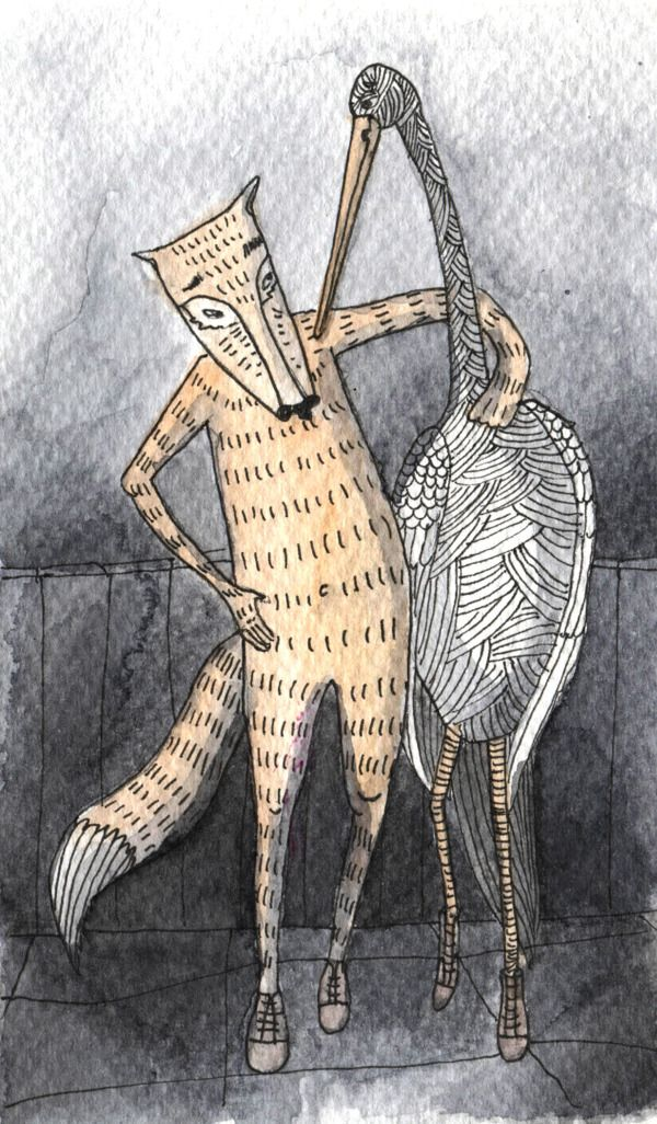 Cartoon of the Fox and the Stork