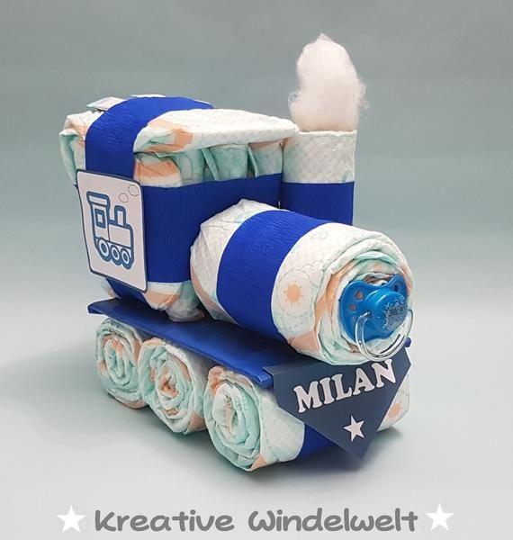 Windeltorte Zug Blau Geburt Taufe Geschenk Pampers Baby Neu Handarbeit Windel