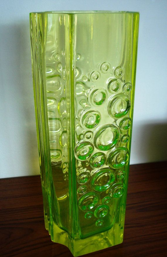 "Art glass vase, Riihimaki ""Presto"" vaseline glass, Tamara Aladin, Op Art, Riihimaen Lasi"
