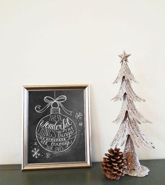 Christmas Ornament Illustration Print - Sleigh Ride Lyric - Chalkboard Decor - Christmas Art - Black and White Christmas