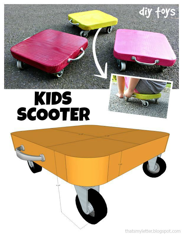 ADORABLE! DIY Kids' Scooter - What a great scrap wood project!