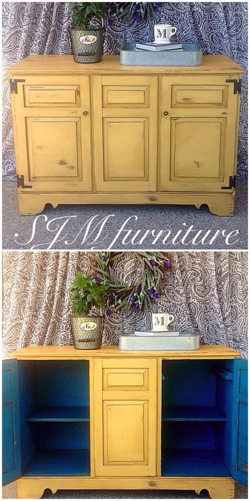 "Vintage buffet pained in Annie Sloan ""Arles"" chalk paint and valspar ""Sunday bustle"" chalk paint in the inside. Distressed and antiqued with dark wax. By SJM Furniture"