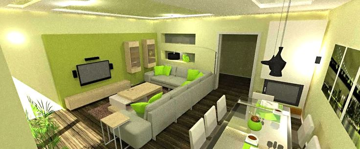Green Living room Fireplace