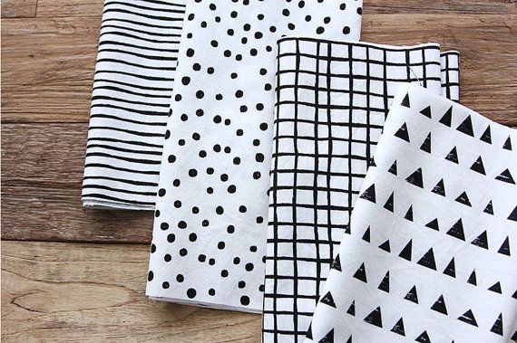 Black and White Cotton Fabric  Geometric  4-in-1  By by landofoh