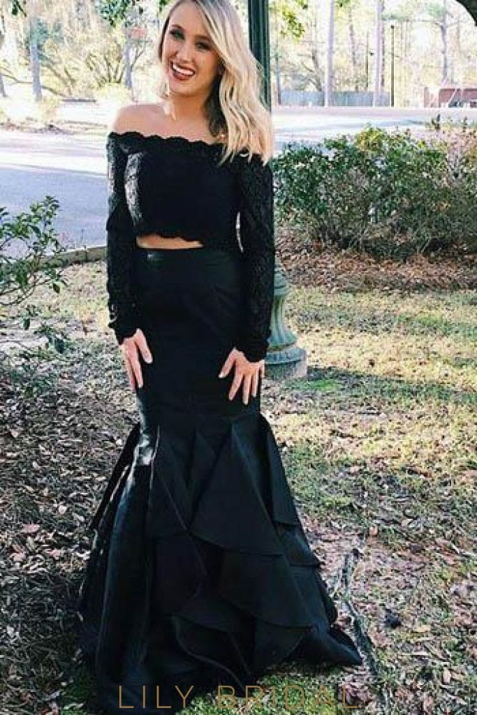 d007c70aa7 Lace Ruffles Off Shoulder Long Sleeves Two Piece Floor-Length Mermaid Prom  Dresses
