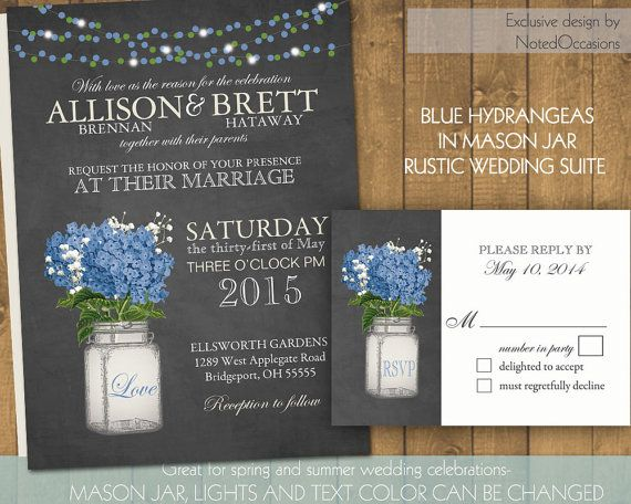 Mason Jar Wedding Invitation Suite - Rustic Hydrangeas - Country Wedding Invitations with Mason Jar & Hydrangeas | flower hue can be changed