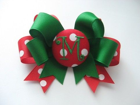 """Personalized Monogram Initial Red and Green Holiday Themed Bow   Stylish and trendy holiday themed monogram bow is perfect to wear to one side or addy to pony tail, hat or headbands. Available on partially lined double prong alligator clip. Approximately 3.75"""" wide. No slip grip can be added on..."""