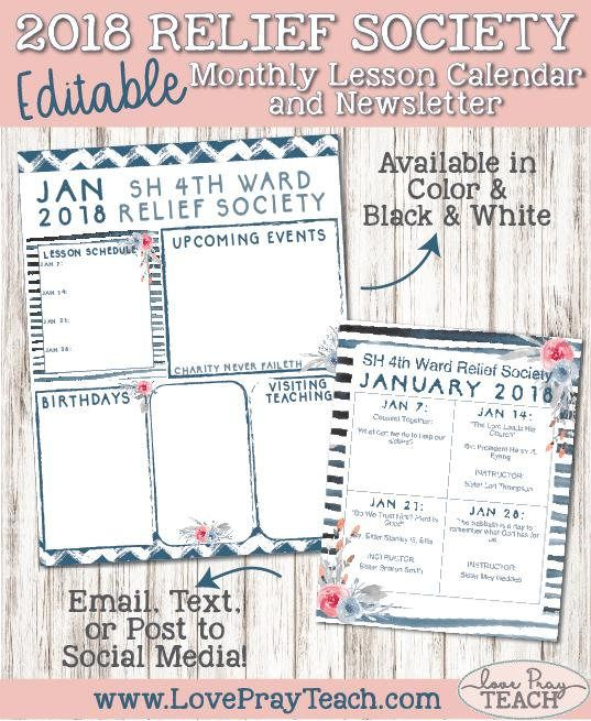 January 2018 Relief Society Editable Newsletter template and Monthly Lesson Calendar - Easy to edit and print, email, text, or post to social media!